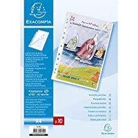 Exacompta A4 PP Stop Doc Punched Pockets、Side and Top opening-Clear、Pack of 10 pockets