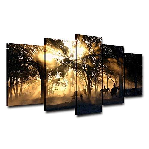 BXZGDJY Lienzo Arte De La Pared Imágenes Decoración para El Hogar Sala De Estar 5 Piezas Mañana Amanecer Bosque Árbol Caballos Pintura HD Impresiones Carteles 150X100CM Cuadro sobre Lienzo - 5