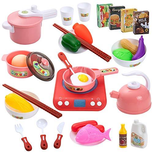 Czemo Set Cucina Bambini, Set di Pentole Finto Set da Cucina con Fornello a Iinduzione, Utensili da Cucina, Verdura, Accessori Cucina Giochi di Ruolo Giochi per Bambini