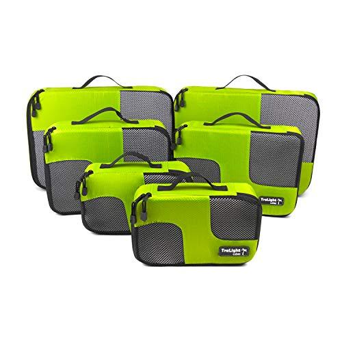 TraLight ® Packing Cubes | Packwürfel | Packtaschen | Kleidertaschen für Koffer, Reisetasche, Handgepäck, Rucksack, Sporttasche | 6 teiliges Set (Grün)
