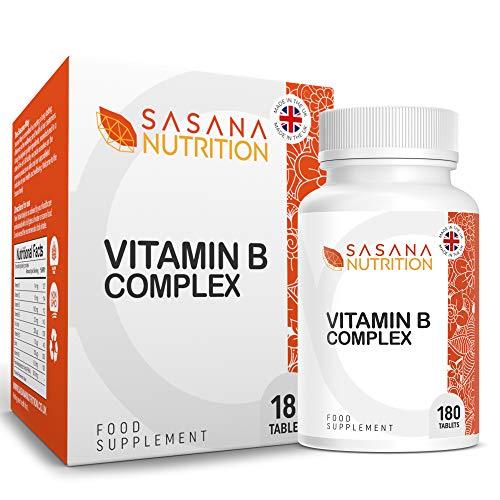 Sasana Nutrition Vitamin B Complex High Strength Tablets – Contains All 8 B Vitamins (B1, B2, B3, B5, B6, B12, Biotin & Folic Acid) 180 Vegan/Vegetarian Tablets 6 Months Supply – Made in The UK