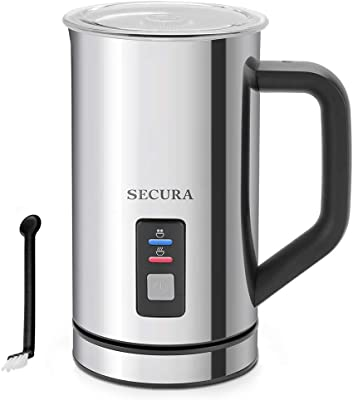 Secura Milk Frother, Electric Milk Steamer Stainless Steel, 8.4oz/250ml Automatic Hot and Cold Foam Maker and Milk Warmer for Latte, Cappuccinos, Macchiato, 120V
