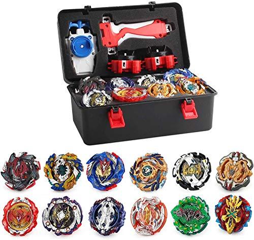 Yikko 12 Stück Kampfkreisel Set, 4D Fusion Kreisel Modell Metall Masters Speed Kreisel Mit Burst, Burst Toys Geschenk Koffer und Zubehör für Kinder (12xKreisel+3xLauncher)