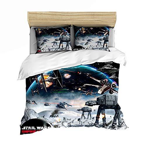 ZZAYY Juego de funda de edredón – Star Wars: The Rise of Skywalker – 1 funda de edredón y 2 fundas de almohada (XQ-03, Queen 229cm)