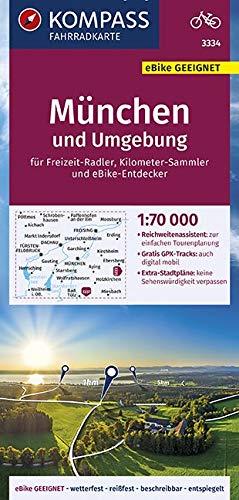 KOMPASS Fahrradkarte München und Umgebung 1:70.000, FK 3334: reiß- und wetterfest mit Extra Stadtplänen: für Freizeit-Radler / Kilometer-Sammler und ... Deutschland, Band 3334)