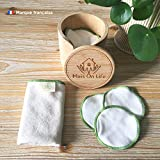 Discos desmaquillantes lavables 100 % algodón, estuche de 16 discos reutilizables con bolsa de lavado de algodón para lavadora, caja y toalla facial de bambú   Suave, ecológico y duradero  