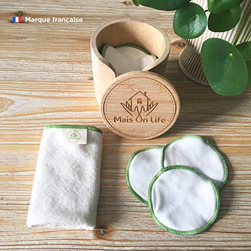 Disques démaquillants lavables 100% coton, Coffret 16 tampons réutilisables avec sac de lavage en coton pour machine à laver, boîte et serviette pour visage en bambou | Doux, Écologique et Durable |