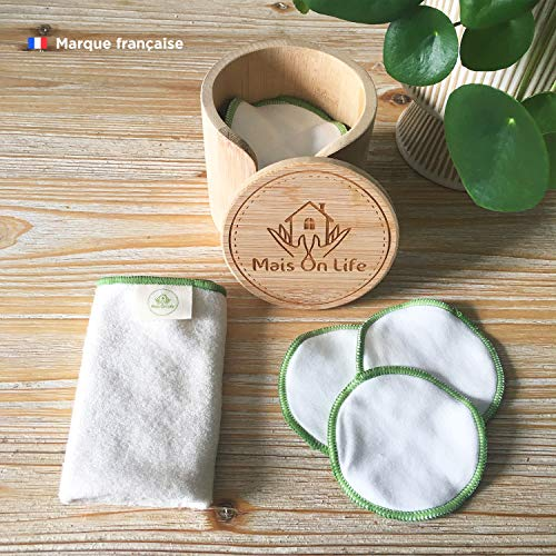 Discos desmaquillantes lavables 100 % algodón, estuche de 1