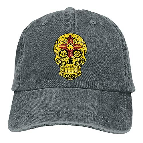 New? Mexico Sugar Skull Sports Gorra de Mezclilla Ajustable Snapback Unisex Llanura Sombrero de Vaquero de béisbol Estilo clásico