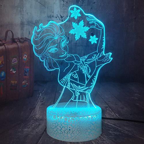 3D Illusion Lampe Led Veilleuse Neige Elsa Reine Princesse Visual Home Decor Fille Jouets Beau Bébé Anniversaire Cadeaux De Noël