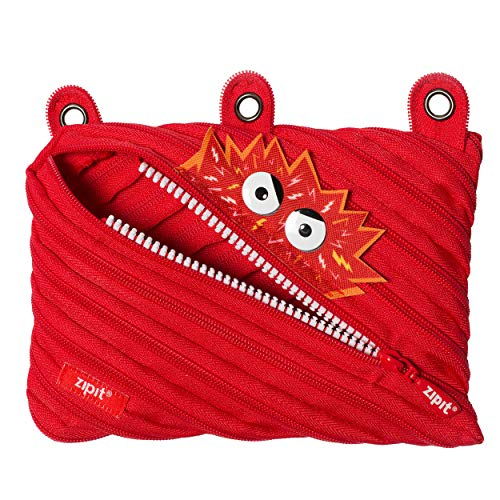 ZIPIT Talking Monstar 3-Ring Binder Pencil Pouch, Large Capacity Pen Case for Kids, Made of One Long Zipper! (Red)