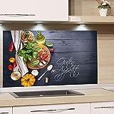 GRAZDesign Spritzschutz Küche Herd, Gemüse auf Holz, dunkelgrau mit Guten Appetit, Küchenrückwand aus Echtglas / 100x50cm