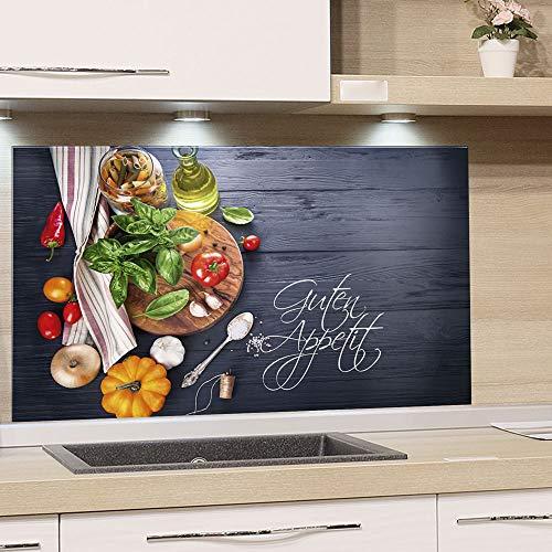 GRAZDesign Spritzschutz Küche Herd, Gemüse auf Holz, dunkelgrau mit Guten Appetit, Küchenrückwand aus Echtglas / 100x60cm