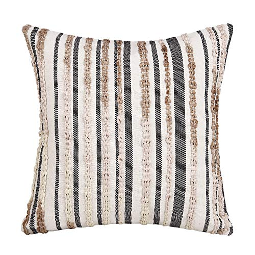 JASEN Handwoven Stripe Braids Embroidered Texture Decorative Pillow Covers for Bed Couch Sofa Accent Pillow Cover Modern Decor Pillow Case 18 x 18 Inch(Cream)