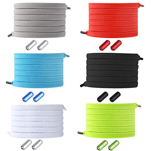 DECYOOL 6 Pairs No Tie Shoe Laces Elastic Tieless Shoelaces, One Size Fits All Adult & Kids