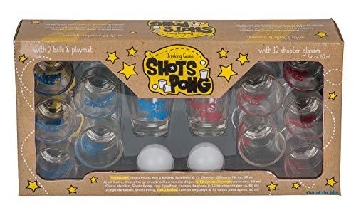Out of the Blue 93/2087 Trinkspiel Shots Pong, mit Spielfeld, 12 Gläsern und 2 Bällen, für ca. 60 ml, Mehrfarbig