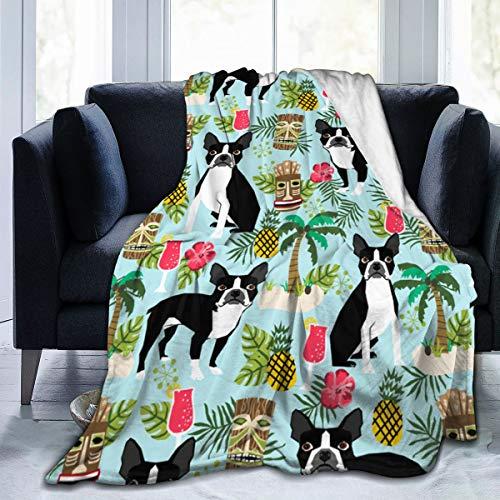 Elsaone Boston Terrier Manta súper Suave para Silla de Cama Sofá Otoño Invierno Primavera Sala de Estar 152 x 127 cm / 60 x 50 Pulgadas