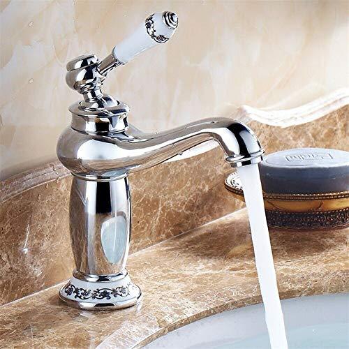 Antike Retro Messing Mischbatterie Wasserhahn Vintage Porzellan Waschbeckenarmatur Einhebelmischer Bad Küche Armatur (Silber)