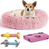 Cama Perro Antiestrés con Manta y 2 Juguetes para Perros, Cama para Perros Pequeños Redonda Tipo Donut de 50cm., Manta para Perro y 2 Juguetes para Perros