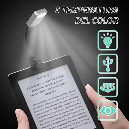 Gocheer mini usb Led lampada da lettura clip libro ricaricabile portatile,Luce da lettura a tre colori e luminosità, Flessibile 360 °lampade a led per lettura,,kindle,bambini, leggere a letto.