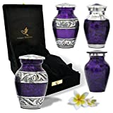 Purple Urns Keepsake - Mini Purple Funeral Urns Set of 4 for Human Ashes - Premium Velvet Bags & Box -...