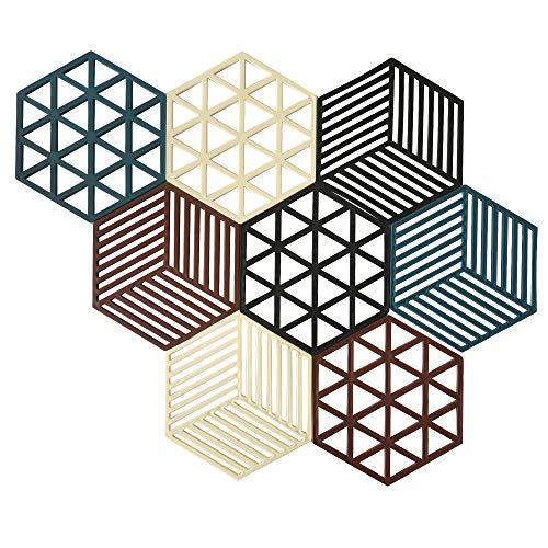 Lot de 8 dessous de plat hexagonaux en silicone résistant pour casseroles, dessous de plat et dessous de plat en caoutchouc antidérapant pour cuisinières, maniques, comptoirs, table