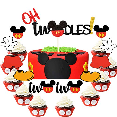 Oh Twodles Cake Topper Mickey Inspired Second Birthday Cupcake Toppers Mickey Mouse 2nd Birthday Party Cake Supplies Decorations for Baby Boys