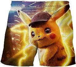 Proxiceen Pikachu Pokémon Zwembroek voor jongens, 3D-print, strandbroek, anime, sport, hardlopen, strand, surfen, boardshorts