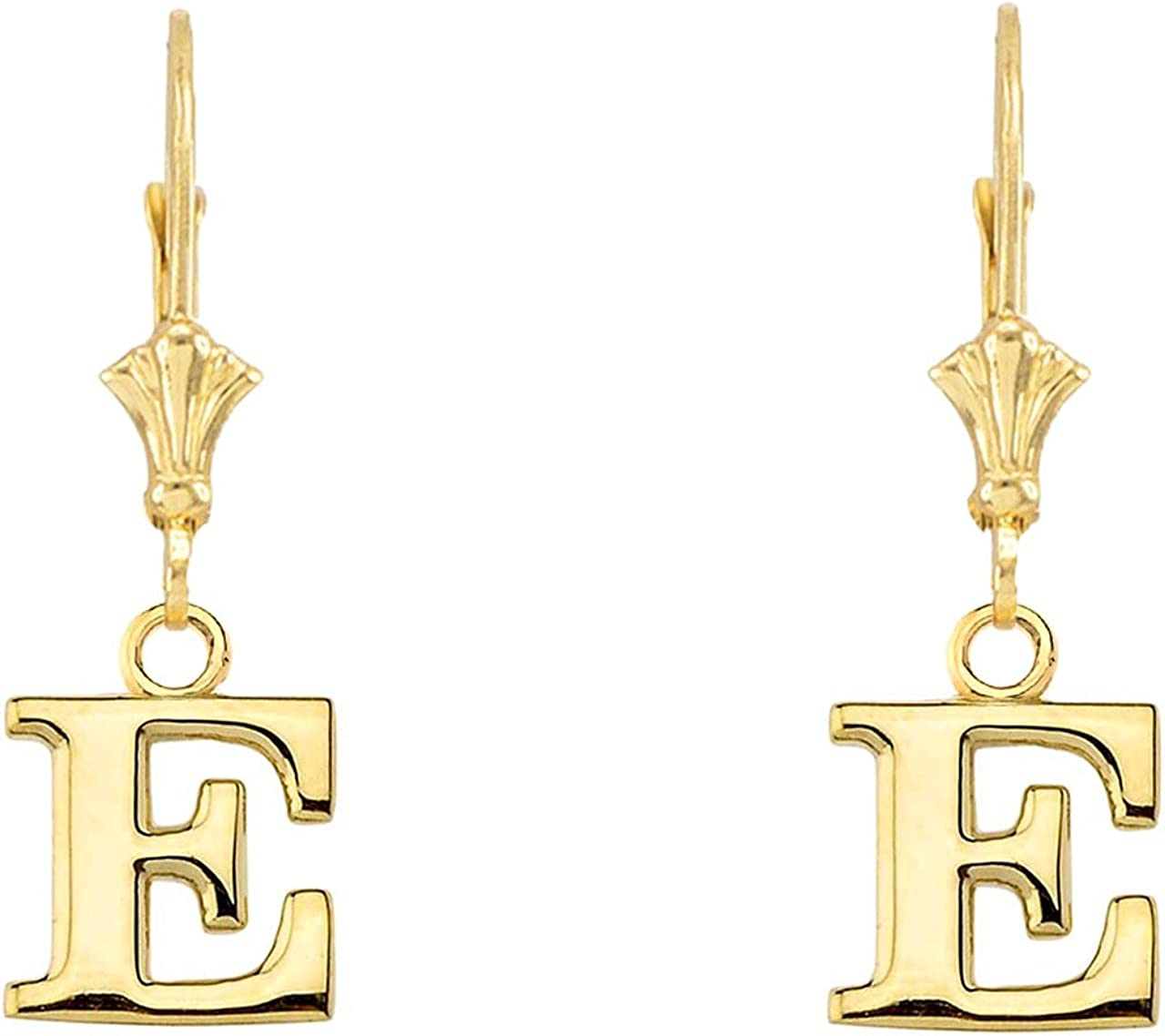 INITIAL EARRINGS IN 14K Super beauty product restock SALENEW very popular! quality top YELLOW GOLD E Letters: -
