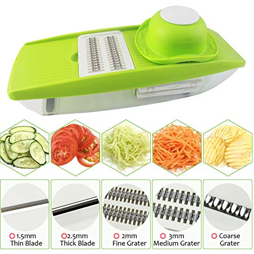 Shareway 5 Blades Handheld Mandoline Slicer Adjustable Vegetable Cutter Food Storage Perfect for Potato/Cucumber/Carrot/Onion/Cheese etc Kitchen Accessories with a Vegetable Peeler