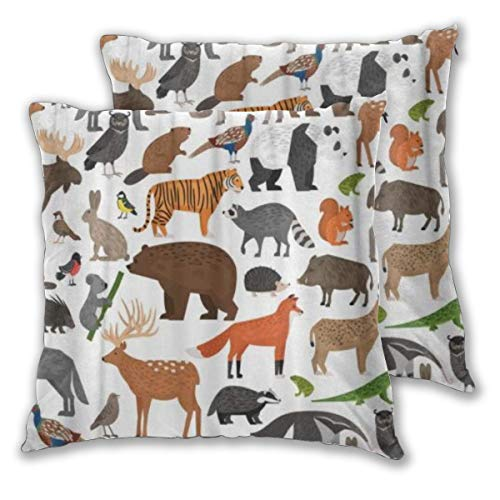 KASABULL Throw Pillow Covers Set of 2 Wildlife Forest Wild Animals Anteater Badger Bear Beaver Boar Bullfinch Peacock Pillowcase Decorative Cushion Cover without Pillow 45cm x 45cm