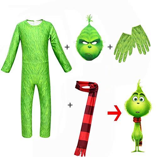 Qiujiam Disfraz de Grinch para niños con Guantes de máscara Mono de Cosplay Navidad Navidad Disfraz de Disfraces Disfraz de Monstruo Verde Grinch Disfraz para niñas Niños