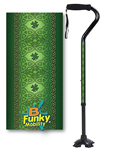 Adjustable Walking Cane Foam Handle Quad Footed Four Pointed Cane Tip Celtic Lace Irish Design
