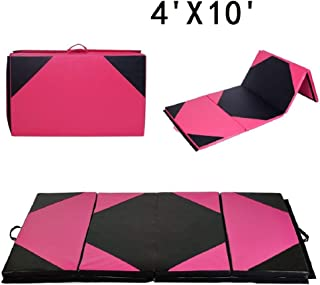 LEISURELIFE Gymnastics Tumbling Mat for Home, Folding Exercise Wrestling Mats for Kids with Handles, 4x10 4x8 4x6 2x6