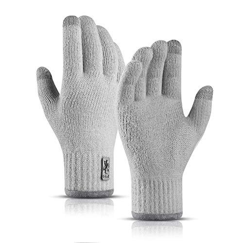 Winter Touchscreen-Handschuhe Warme Strickhandschuhe Arbeiten im Freien Skifahren Camping Wandern Laufen Radfahren Fahren für Männer und Frauen (grau)