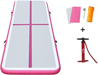 Darget Gymnastic 3m Inflatable Air Track Tumbling Floor Mat with Pump(Air Floor-Pink:3m /9.8'x 1m /39