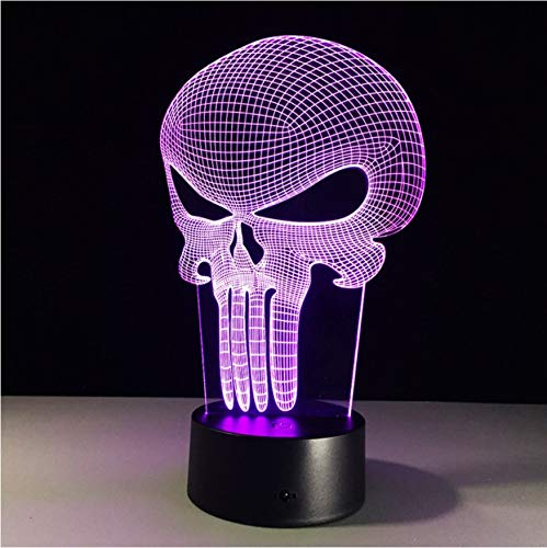 3D Nachtlicht,Fernbedienung Punisher Schädel Mehrfarbige 3D Led Nachtlicht 7 Farbwechsel Lampe Blendlicht Acryl Hologramm Illusion Schreibtischlampe Für Kinder