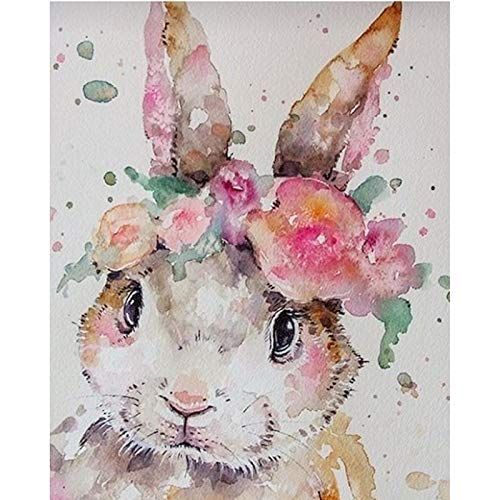 Diy Oil Painting Paint by Number Kit for Adult Kids, Watercolor Rabbit,16X20 Inch