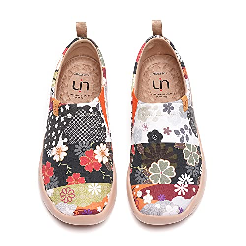 UIN Blossom Women's Fashion Floral Art Sneaker Painted Canvas Slip-On Ladies Travel Shoes (Hana, 5)