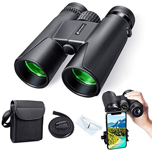 Prismaticos Profesionales, 12x50 HD Prismaticos Vision Nocturna Débil con Adaptador de Teléfono, Prismas BAK4 y FMC. Ideales para Evento Deportivo, Observación Animales, Astronomía y Camping