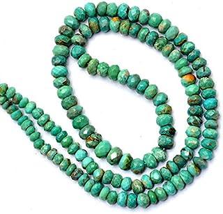 Jaipur Gems Mart Perlas de Rondelle facetadas de Turquesa Genuina de 3 mm a 5 mm | Hebra de 16 Pulgadas | Cuentas graduada...