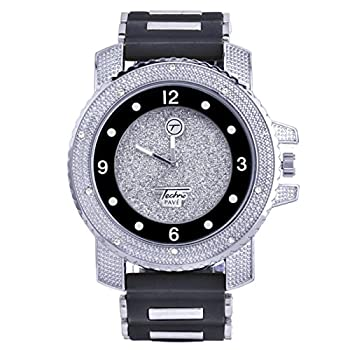 XL Heavy Iced Bling Rapper Hip Hop Techno Pave Rubber Watches 7758 SBBK