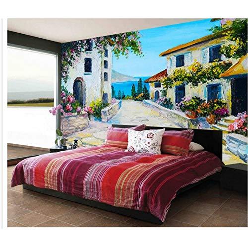 Handbemalte mediterrane Steinplatte Gartenhaus mit Hintergrundbild 3d wallpaper Home Decoration
