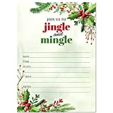 Jingle and Mingle Watercolor Party Invitation, Set of 20 Fill-in Blank 5x7 Inch Invites & Envelopes