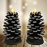 BANBERRY DESIGNS Pine Cone Candle - Set of 2 LED Flameless Candles Inside Real Pine Cones - Natural Brown Each 4 Inches Tall - Battery Operated