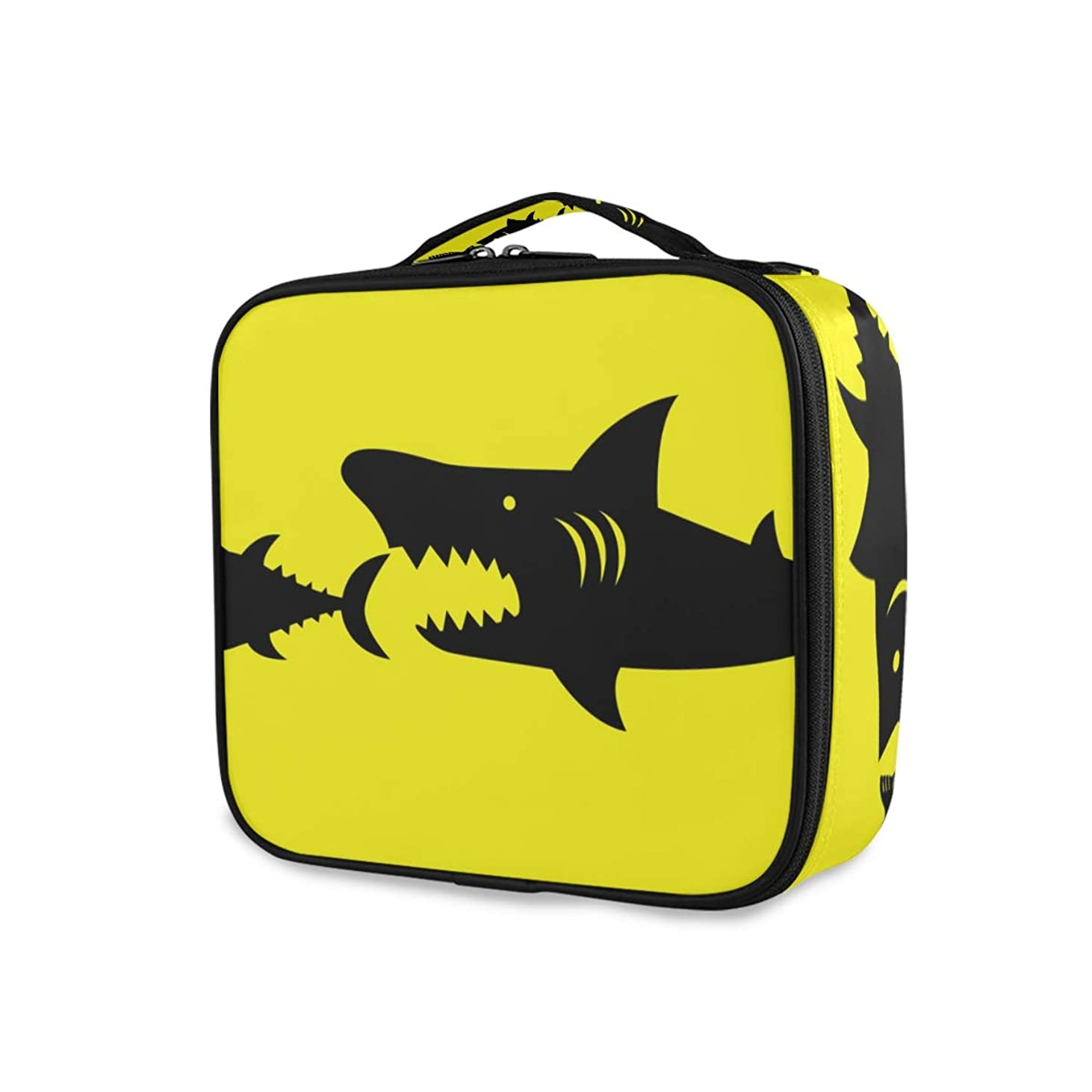 傾向不足仲間メイクボックス 魚柄 食べる 強い 大容量 収納 仕切り付き 収納ケース 機能性 小物入れ 旅行 通勤 化粧道具 高品質 メイク収納 整理 持ち運び