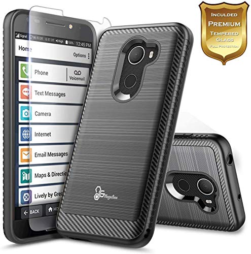 E-Began Case for Jitterbug Smart 2 Case, (Easy-to-Use 5.5 Screen) Brushed Carbon Fiber Designed, Premium Heavy Duty Defender Shockproof Dual Layer Hybrid Cover Phone Case -Black