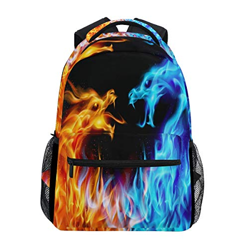 ZZKKO Animal Dragon Fire and Water Boys Girls School Computer Backpacks Book Bag Travel Hiking Camping Daypack