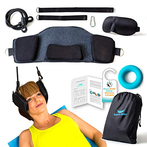 Head Hammock for Neck Pain Relief - Quality Door Strap Decompression Traction Device Relaxer for Your Shoulder Cervical and Back to Remove Discomfort - Ideal to use at Home as Stretcher Therapy