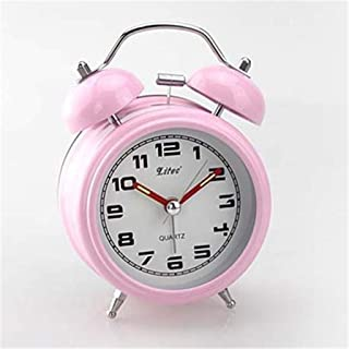 HSXOT 3 Pulgadas Mute Bell Perezoso Reloj Despertador Antiguo Moderno Estilo Coreano Metal Doble Campana Estudiante Reloj Despertador Rosa